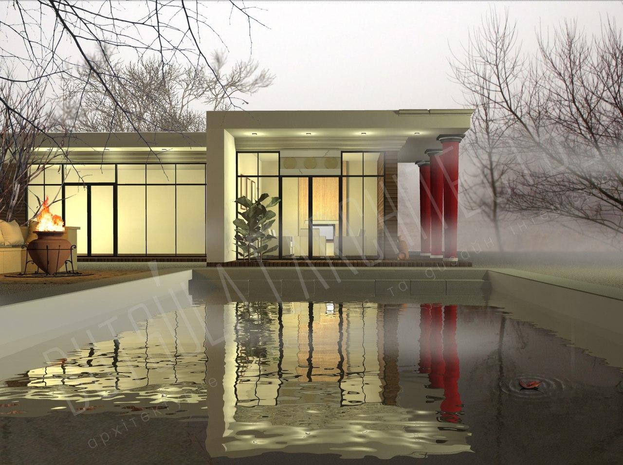 Архитектурная визуализация дома с бассейном в современном стиле.