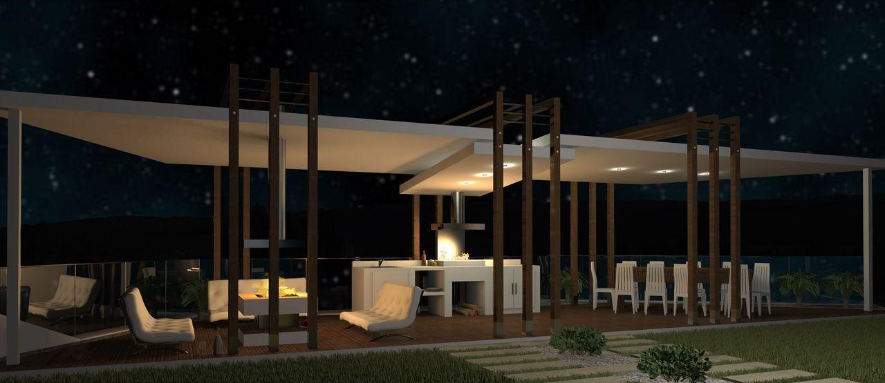 Архитектурное проектирование домов и сооружений. Беседка. Ночной вид.
