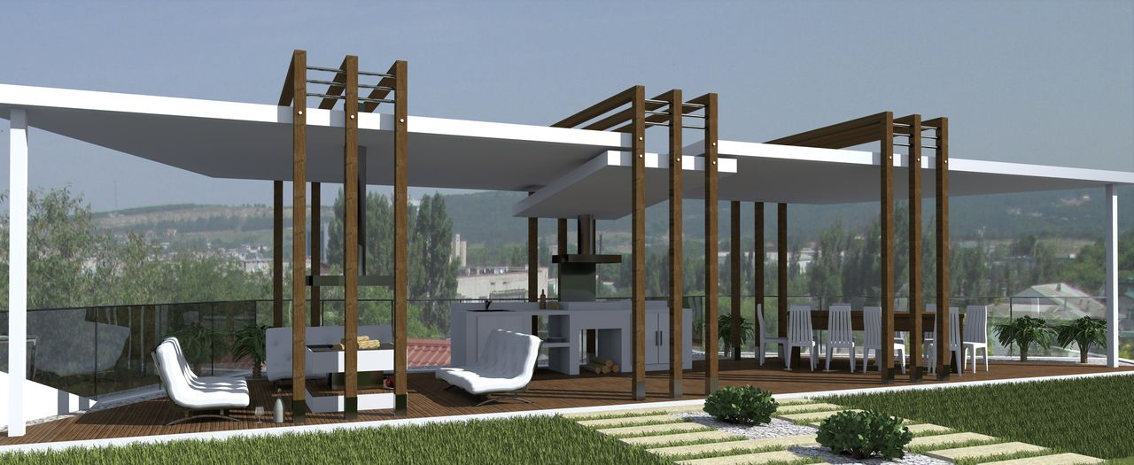 Проектирование и строительство домов. Беседка в частном домовладении. Дневной вид.