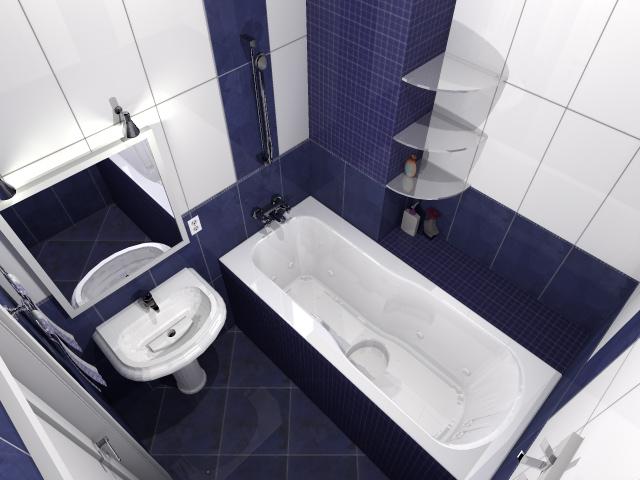 3D Визуализация. Интерьер ванной комнаты, камера-1 - вариант №1