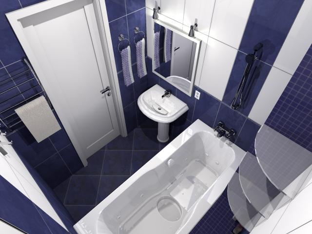 3D Визуализация. Интерьер ванной комнаты, камера-2 - вариант №1