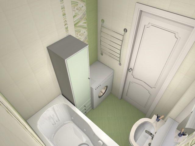 3D Визуализация. Интерьер ванной комнаты, камера-2 - вариант №2
