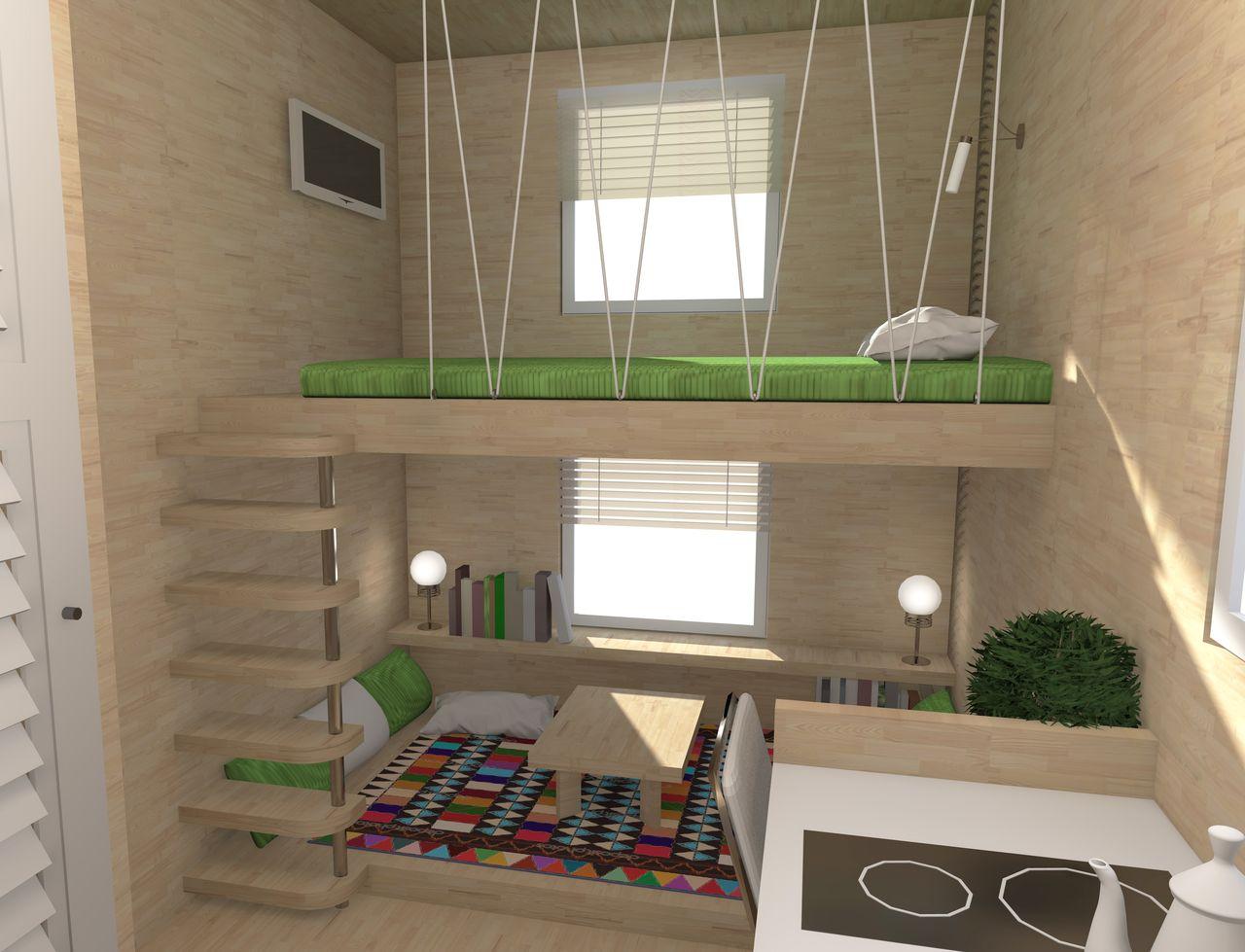 Домик из морского контейнера. Дизайн интерьера. Кровать и место для отдыха.