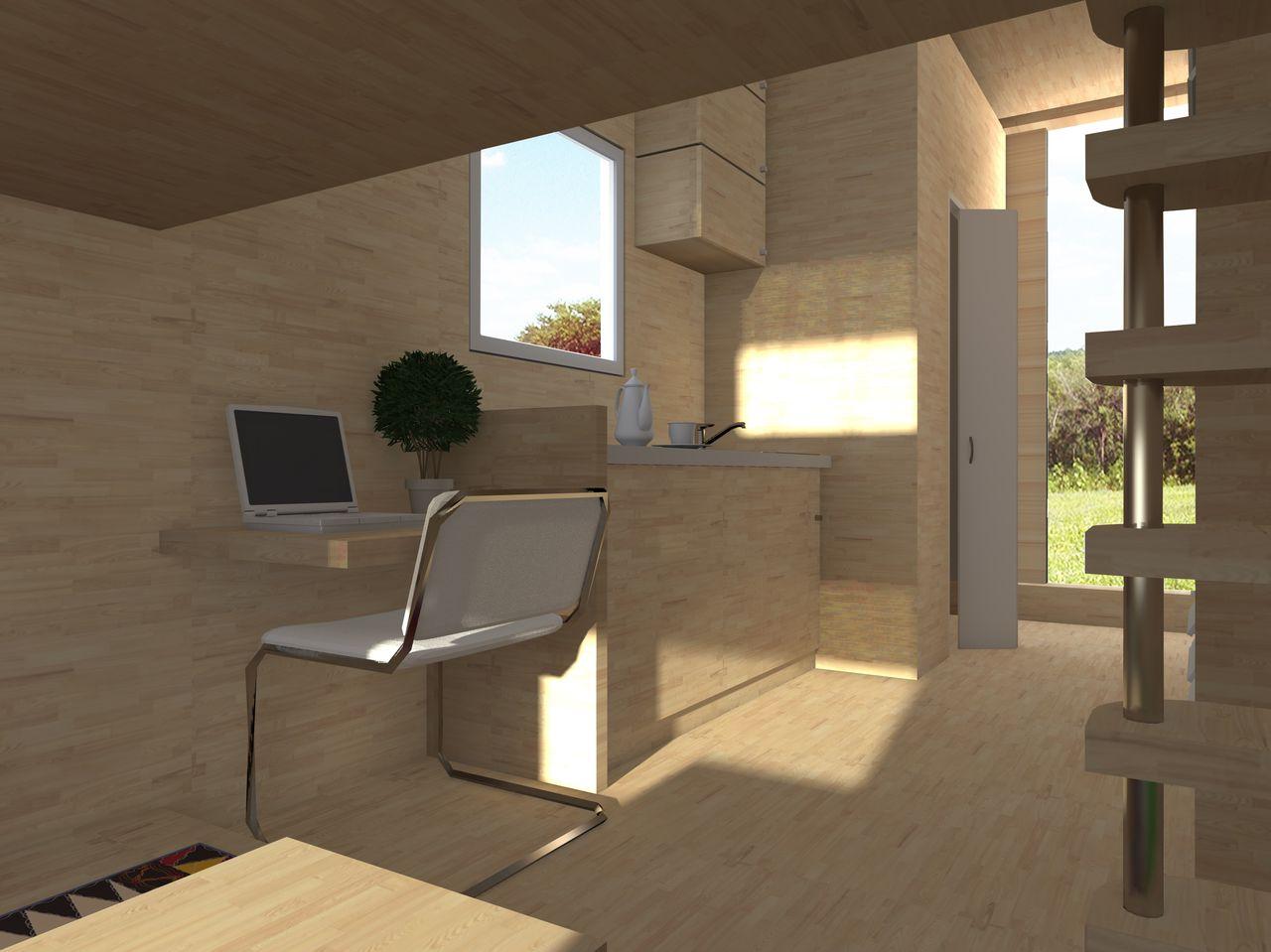 Разработка дизайн дома из морского контейнера. Интерьер. Рабочее место.
