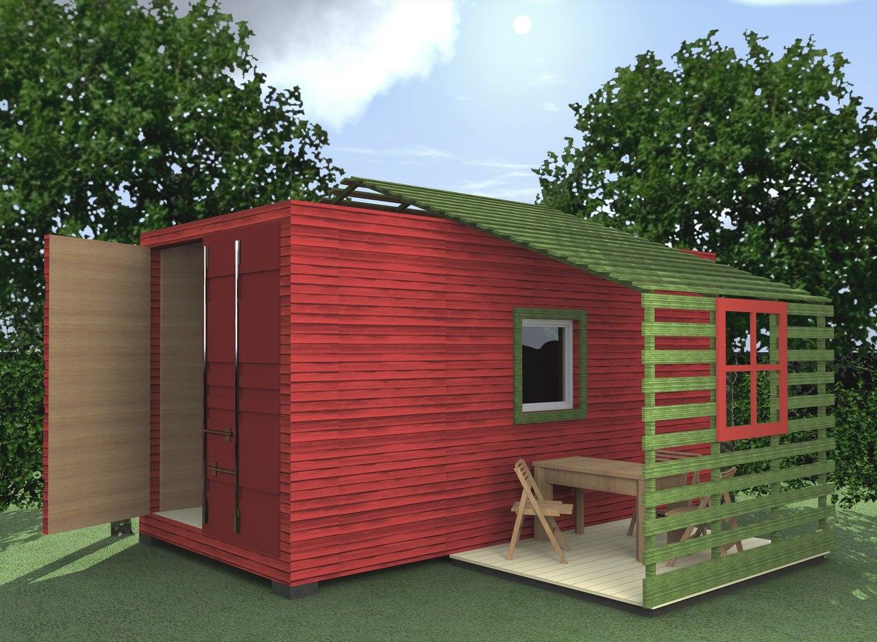 Индивидуальное проектирование домов. Домик из морского контейнера. Вариант 2