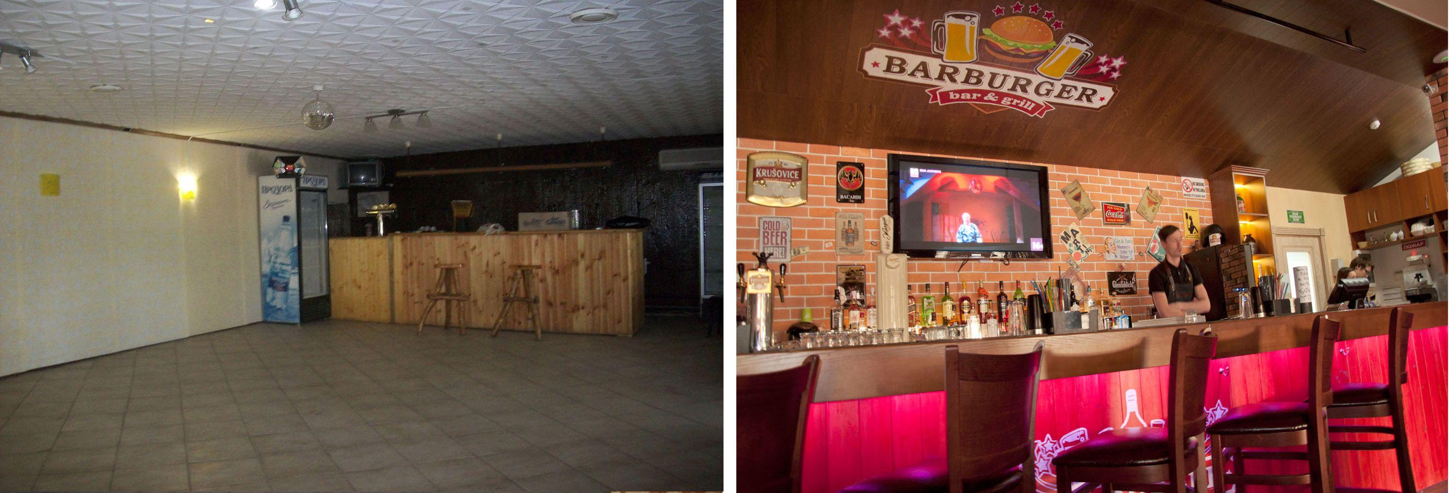 Дизайн барной стойки кафе Барбургер До и После