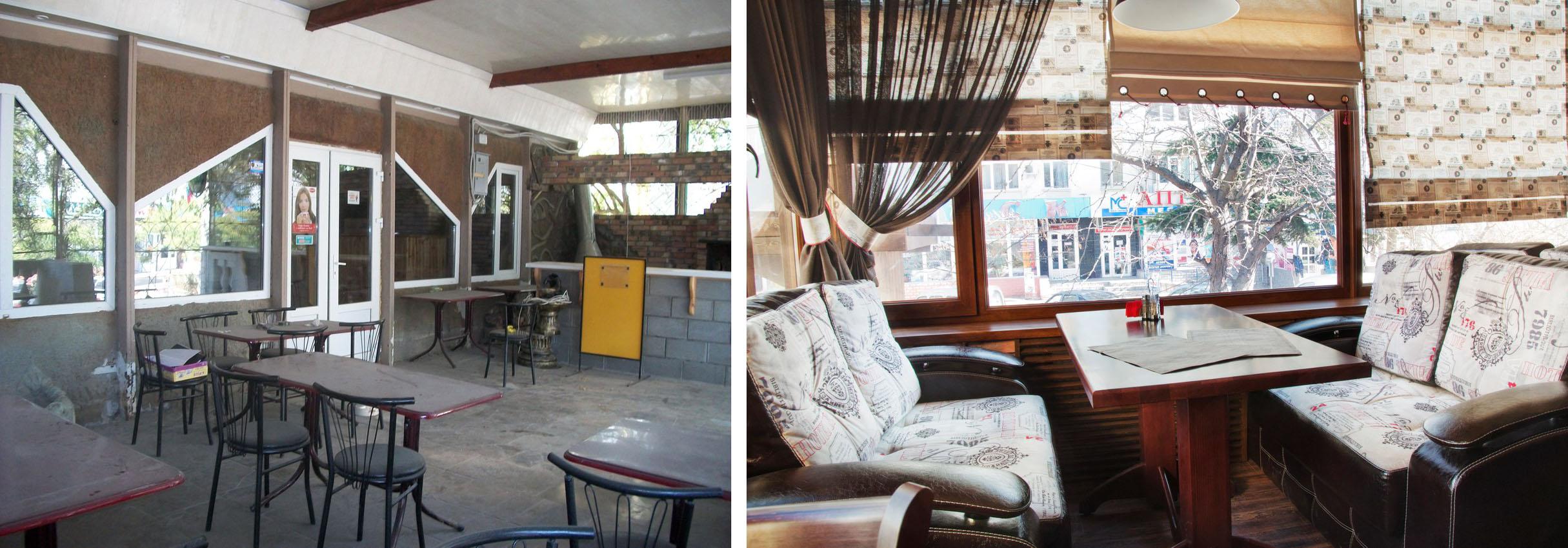 Дизайн посадочных мест кафе До и После