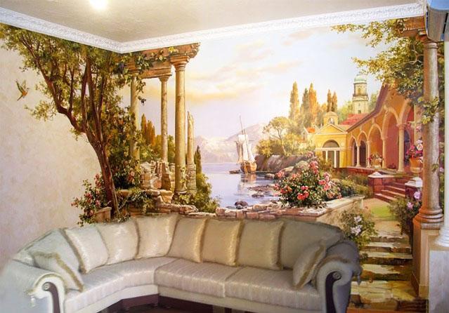 Визуальное расширение комнаты росписью