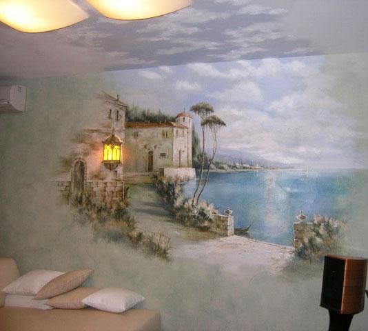 Роспись стены и потолка