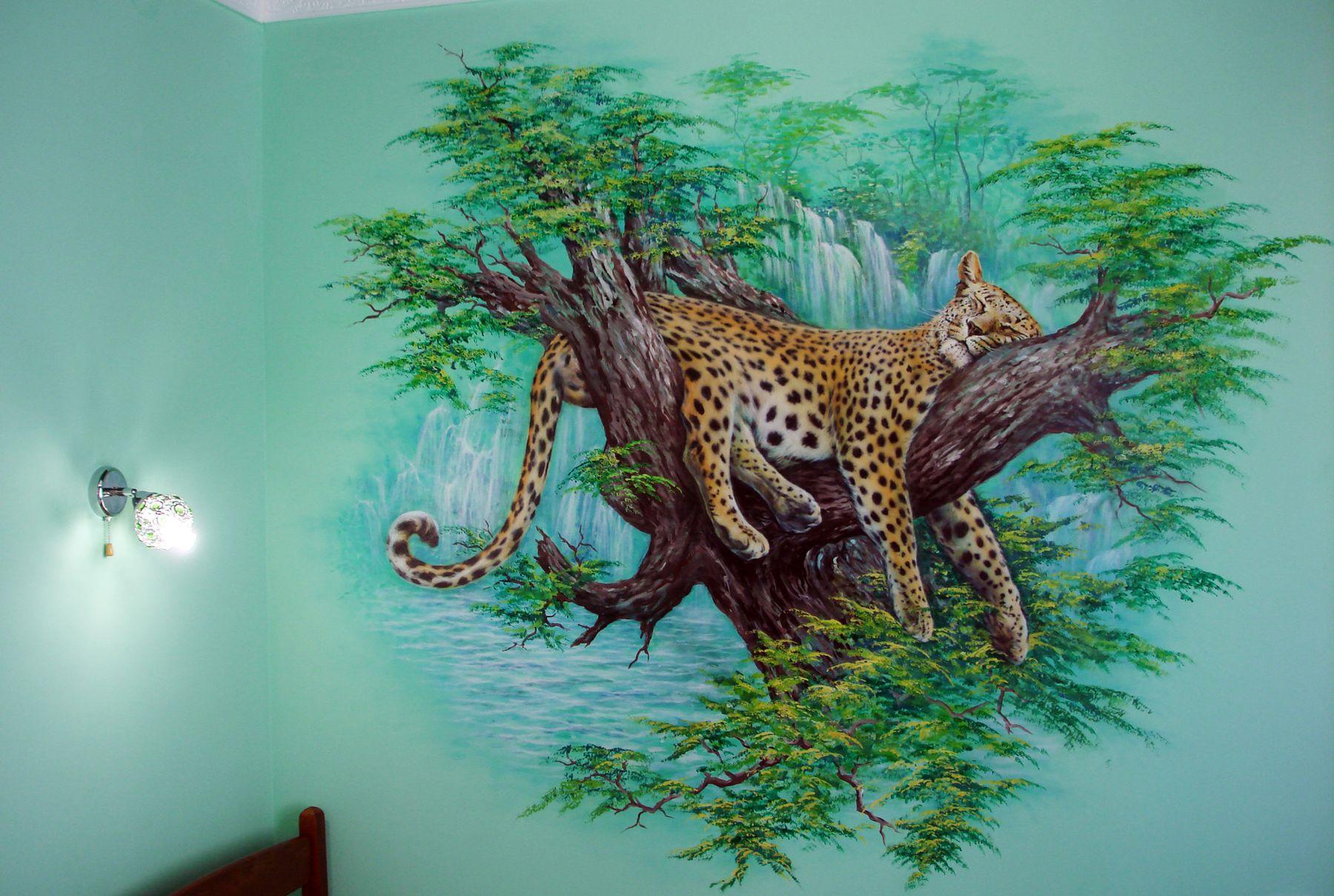 Художественная роспись стен в интерьере - Леопард