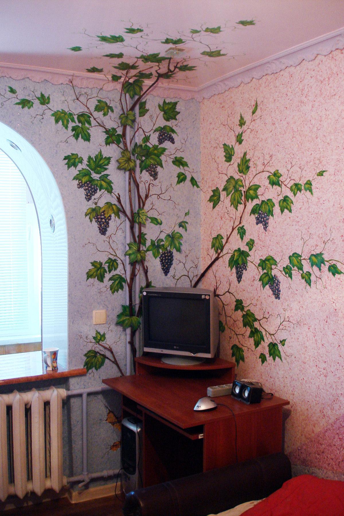 Декоративная роспись стен - Виноград в натуральной лозой
