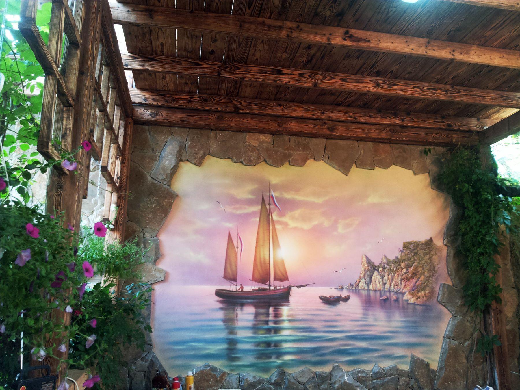 Художественная роспись стен в беседке натуральное дерево и камень - Яхта