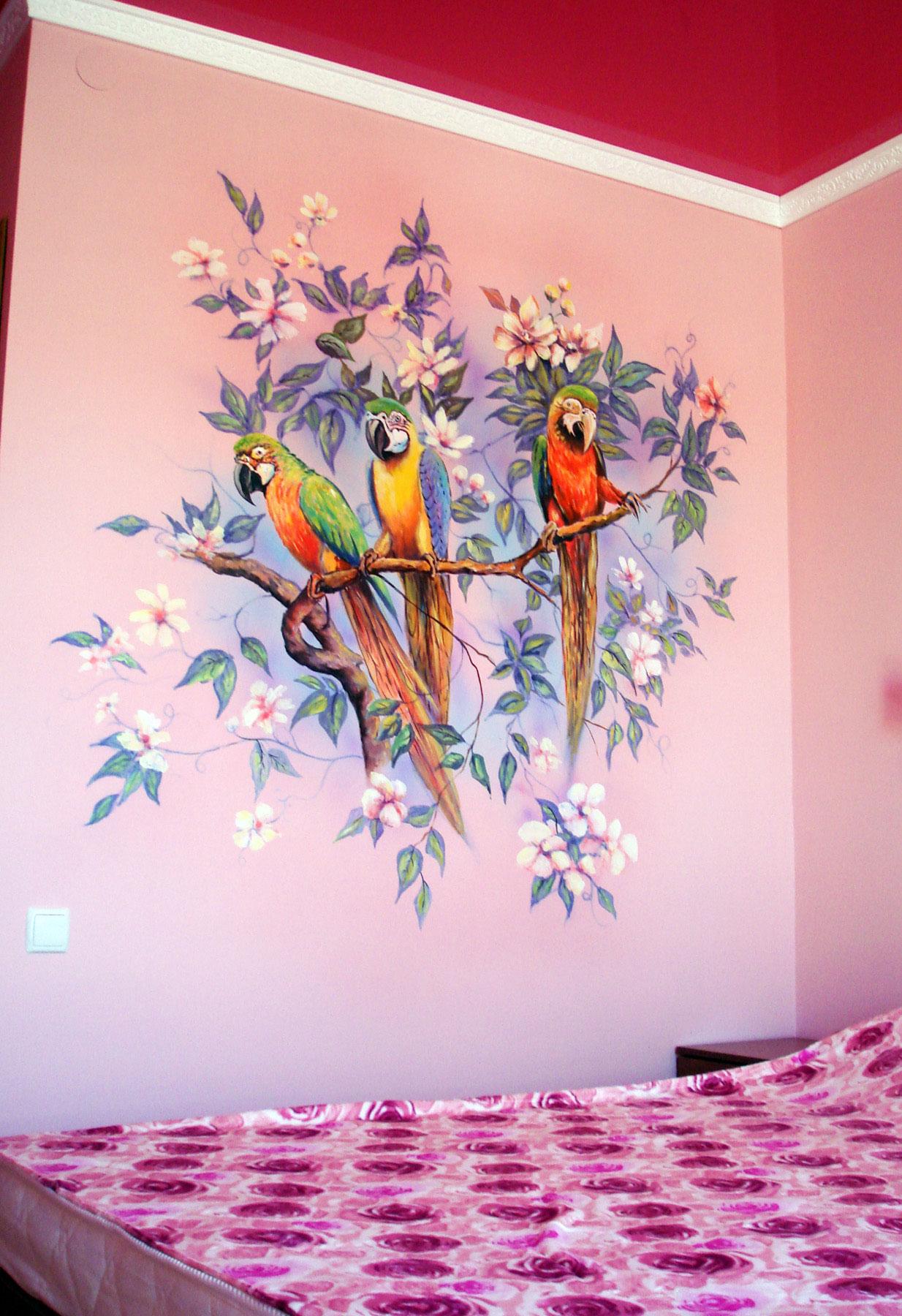 Роспись стен в интерьере - Попугаи