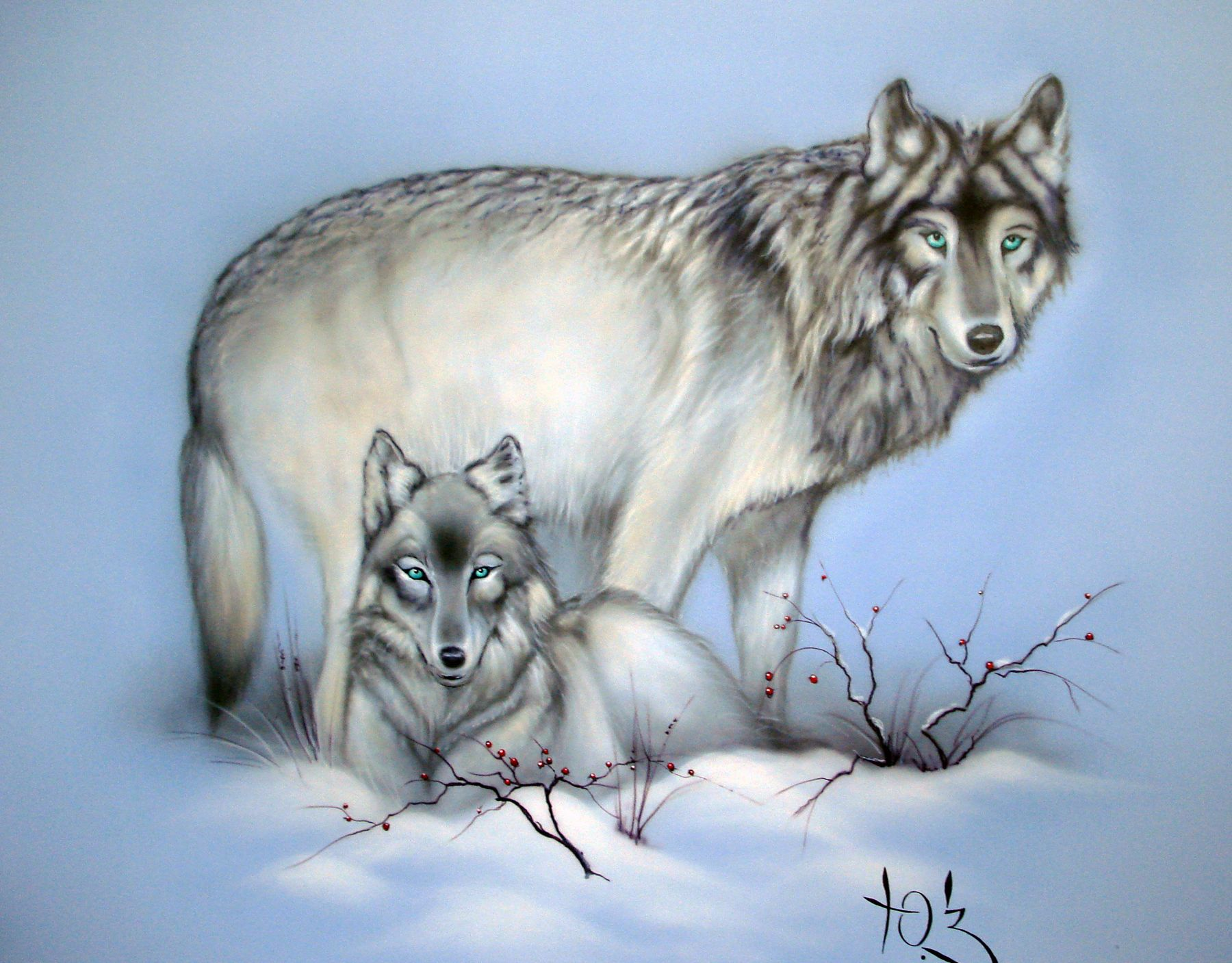 Декоративная роспись стены - Волки