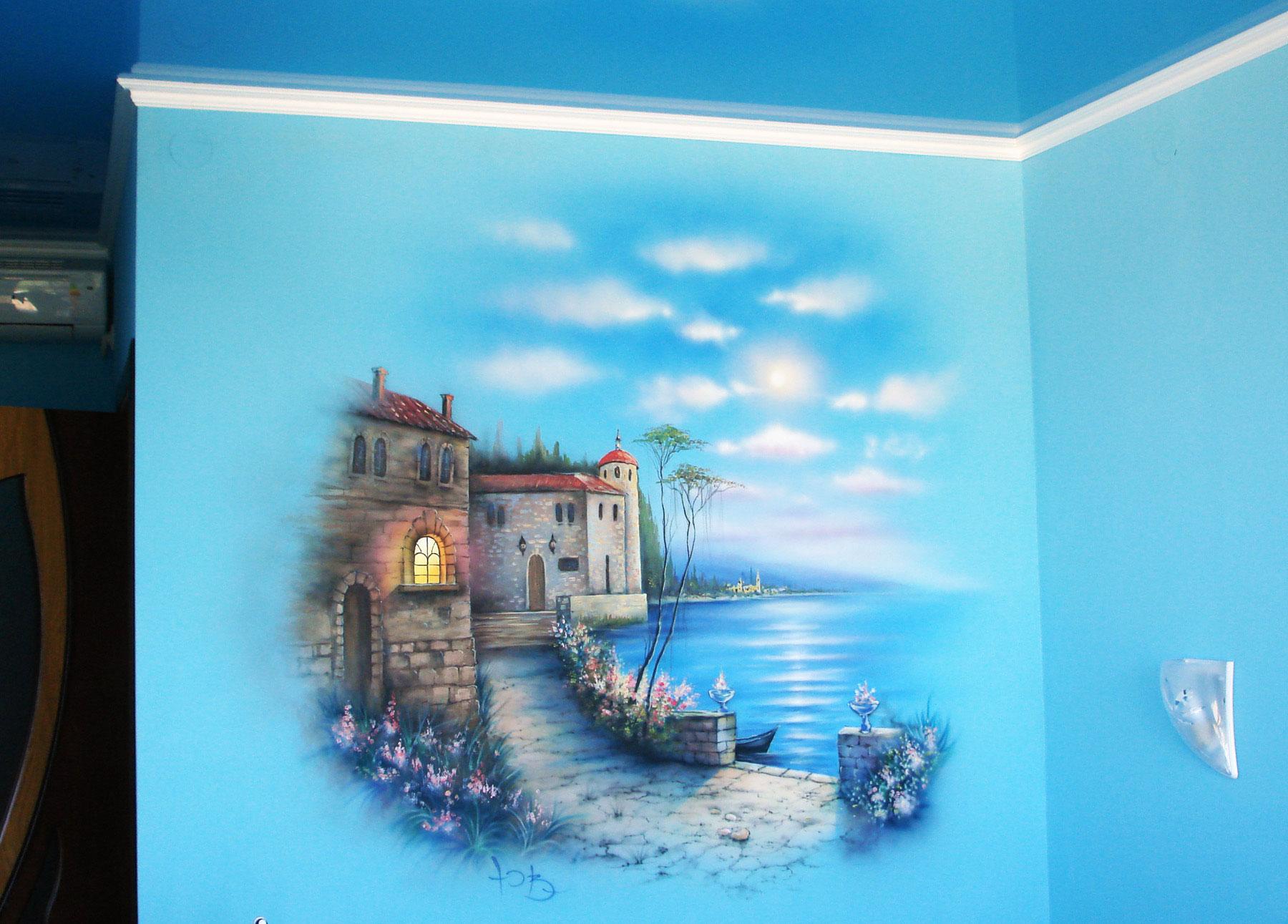 Ручная художественная роспись стены - Корсика