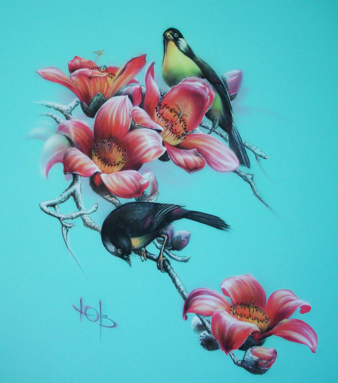 Птицы на ветке - Роспись стены в интерьере.