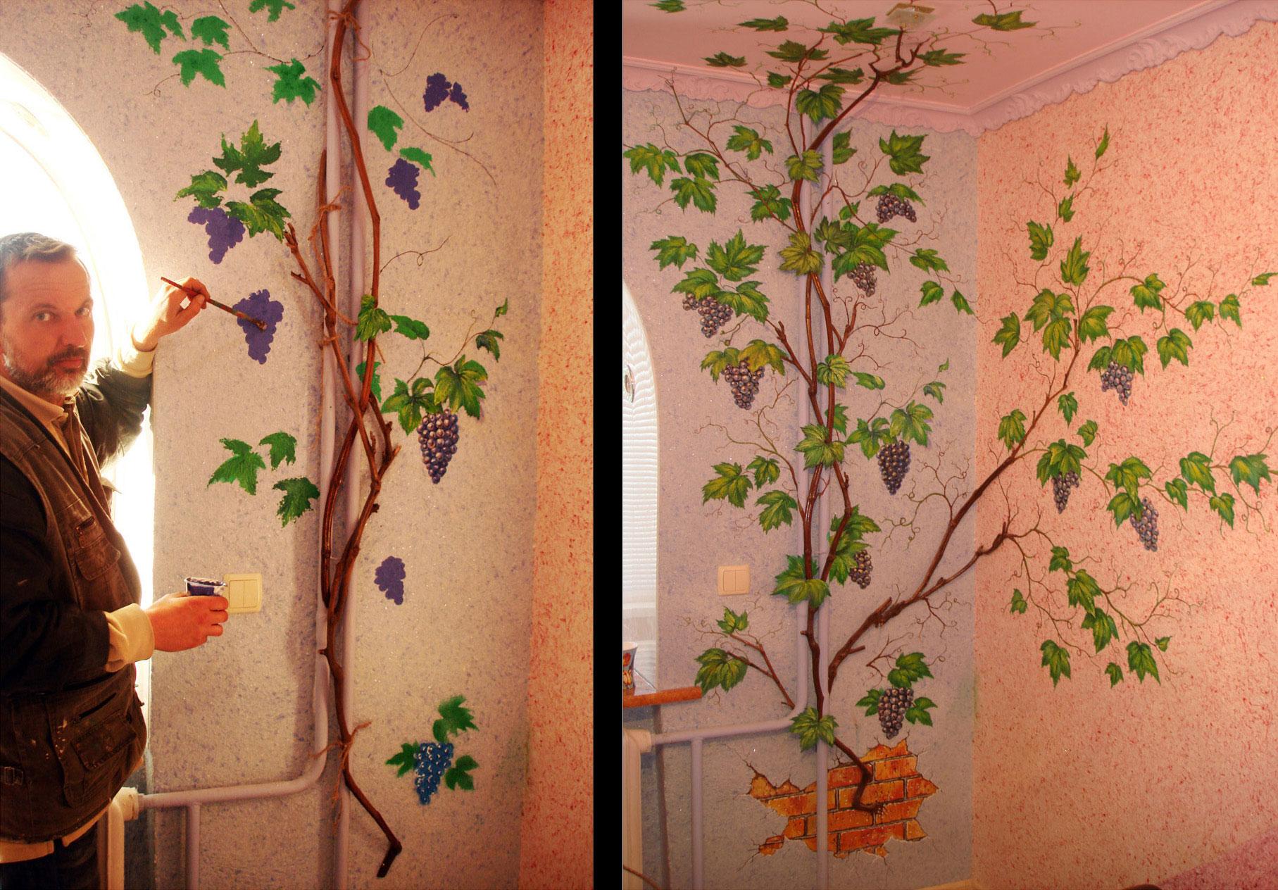Как расписать стену виноградной лозой